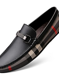cheap -Men's Dress Shoes Fall Business / Casual Daily Outdoor Office & Career Loafers & Slip-Ons Leather Wear Proof White / Black
