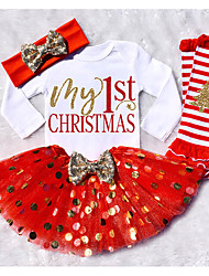 cheap -Baby Girls' Casual / Active Print / Christmas Long Sleeve Long Wool Clothing Set Red