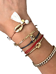 cheap -6pcs Women's Bracelet Bangles Cuff Bracelet Earrings / Bracelet Layered Shell Classic Vintage Trendy Fashion Colorful Cord Bracelet Jewelry Gold For Daily Street Club Festival / Pendant Bracelet