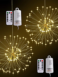 cheap -ZDM 2PCS Waterproof 60 Branches120LED Battery Operated Hanging Starburst Lights LED Fireworks lamp LED Broom Copper Wire Timed Colorful Lantern Creative Party Festival Decor