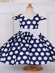 cheap -Kids Girls' Polka Dot Bow Print Dress Blushing Pink