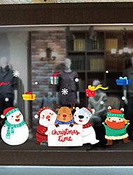 cheap -Christmas Cartoon Cute Window Film &ampampamp Stickers Decoration Animal / Patterned Holiday / Character / Geometric PVC(PolyVinyl Chloride) Window Sticker