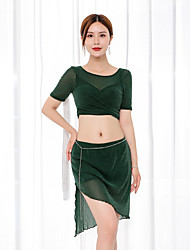 cheap -Belly Dance Outfits Women's Training / Performance Chiffon Ruching Short Sleeve High Skirts / Top