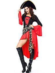 Недорогие -Пираты Товары для Хэллоуина Маскарад Взрослые Жен. Хэллоуин Halloween фестиваль Хэллоуин Маскарад Фестиваль / праздник Полиэстер Красный Жен. Карнавальные костюмы Пэчворк / Юбки / Шапки