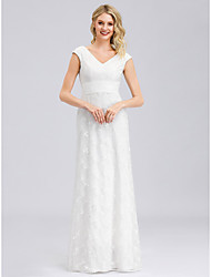 cheap -A-Line V Neck Floor Length Tulle Regular Straps Formal Backless Made-To-Measure Wedding Dresses with Lace 2020