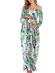 cheap -Women's Maxi Maternity White Black Dress Elegant Street chic Swing Floral S M