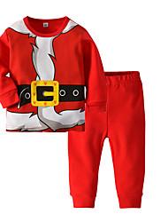 cheap -Kids Toddler Girls' Basic Christmas Home Santa Claus Print Cartoon Christmas Print Long Sleeve Regular Regular Cotton Clothing Set Red