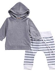 cheap -Baby Boys' Active / Basic Black & White Striped Drawstring Long Sleeve Regular Regular Clothing Set Gray