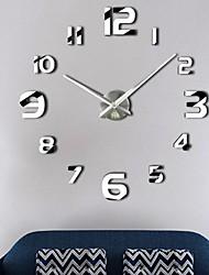 Недорогие -Современный современный Нержавеющая сталь Круглый В помещении Батарея Украшение Настенные часы Цифровой Нержавеющая сталь Да