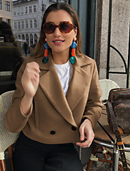 cheap -Women's Daily Fall & Winter Short Jacket, Solid Colored Peaked Lapel Long Sleeve Polyester Orange / Blue / Green