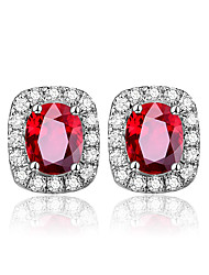 cheap -Bague Ringen Fashionable Earrings for Women Classic Lady Temperament Silver 925 Jewelry Oval Ruby Anniversary Gift Wholesale