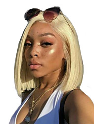 cheap -Synthetic Lace Front Wig Straight Side Part Lace Front Wig Blonde Short Blonde Synthetic Hair 10-16 inch Women's Soft Adjustable Heat Resistant Blonde / Luminous wig