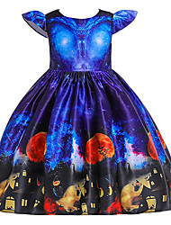 cheap -Kids Toddler Girls' Active Cute Floral Color Block Halloween Pleated Lace up Print Short Sleeve Knee-length Dress Blue