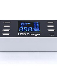 cheap -40W 8A USB Charger and Type-C A9 8 Desk Charger Station LCD Display / with Smart Identification US Plug / EU Plug / UK Plug Charging Adapter