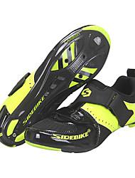 Недорогие -SIDEBIKE Взрослые Обувь для велоспорта Дышащий Противозаносный Шоссейные велосипеды Велосипедный спорт / Велоспорт Велосипеды для активного отдыха Черный / желтый Муж. Жен. Обувь для велоспорта
