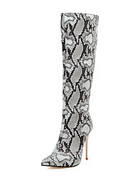 cheap -Women's Boots Knee High Boots Stiletto Heel Pointed Toe PU Knee High Boots Vintage / British Fall & Winter Black / Leopard / White / Party & Evening