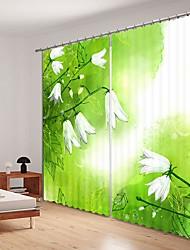 cheap -Simple Style White Floret Digital Printing 3D Curtain Shading Curtain High Precision Black Silk Fabric High Quality Curtain