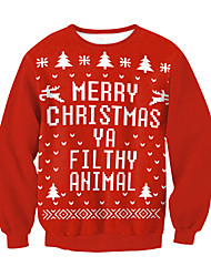 cheap -Santa Suit Ugly Christmas Sweater / Sweatshirt Men and Women Adults' Christmas Festival Christmas 100% Polyester