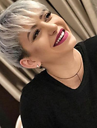 cheap -Human Hair Capless Wigs Human Hair Straight Pixie Cut / Short Hairstyles 2019 / With Bangs Ombre Hair / Dark Roots / Side Part Ombre Short Machine Made Wig