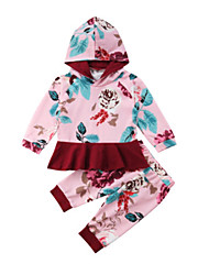 cheap -Baby Girls' Casual / Basic Floral Print Long Sleeve Long Clothing Set Blushing Pink