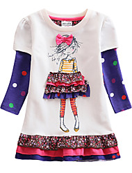 cheap -Kids Girls' Sweet Blue & White Black & Gray Butterfly Cartoon Peplum Embroidered Layered Long Sleeve Above Knee Dress White / Cotton