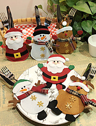 cheap -6pcs Christmas Cutlery Pocket Fork Tableware Santa Claus Dinner Table Home Decoration