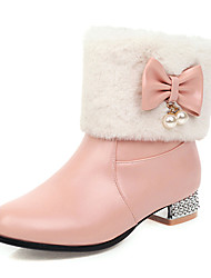 cheap -Women's Boots Snow Boots Chunky Heel Round Toe PU Fall & Winter Pink / White / Black