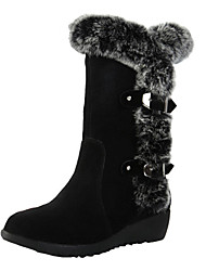 cheap -Women's Boots Snow Boots Wedge Heel Round Toe Suede Mid-Calf Boots Casual Fall Black / Brown