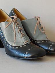cheap -Women's Heels Chunky Heel Round Toe PU Fall & Winter Almond / Yellow / Gray / Color Block
