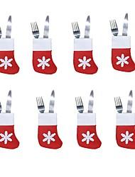Недорогие -6 шт. Рождественские носки наборы посуды рождественские столовые приборы серебряные столовые приборы карманы ножи вилки сумка рождественская вечеринка декор стола