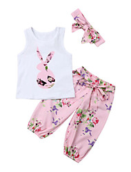 cheap -Baby Girls' Active Rabbit Floral / Print Bow / Print Sleeveless Long Clothing Set White