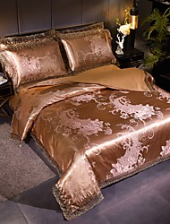 cheap -Duvet Cover Sets European Satin Luxury Gold & Silver/ Floral Pattern/ Jacquard Lace 4 Piece Bedding Set