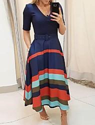 cheap -Women's Swing Dress - Striped Blue S M L XL
