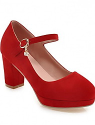cheap -Women's Heels Chunky Heel Round Toe PU Fall & Winter Green / Red / Blue
