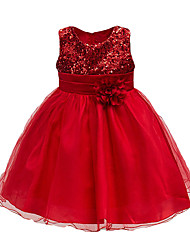 cheap -Kids Toddler Girls' Active Cute Rose Floral Solid Colored Lace Sequins Layered Sleeveless Knee-length Dress Purple