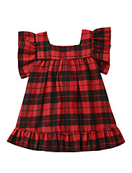 cheap -Baby Girls' Active / Basic Plaid / Christmas Bow Sleeveless Cotton Dress Red / Toddler