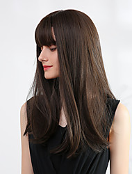 cheap -Synthetic Wig Bangs Ombre Straight Natural Straight Avril Neat Bang Wig Black / Blonde Long Light golden Rose Gold Medium Brown / Strawberry Blonde Black / Brown Synthetic Hair 20 inch Women's Women