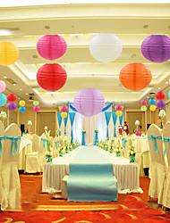 cheap -5pcs 25cm Round Chinese Paper Lanterns Birthday Wedding Decor Gift Craft DIY Lampion Hanging Ball Party