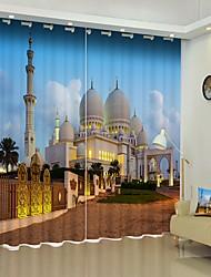cheap -Evening Mosque Digital Printing 3D Curtain Shading Curtain High Precision Black Silk Cloth High Quality Curtain