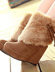 cheap -Women's Boots Snow Boots Wedge Heel Round Toe Feather / Bowknot Suede Booties / Ankle Boots Vintage / Casual Spring &  Fall / Fall & Winter Black / Brown / Beige
