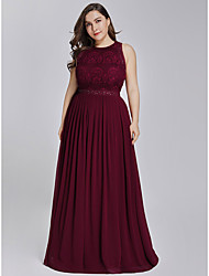 cheap -A-Line Jewel Neck Floor Length Chiffon / Lace Elegant & Luxurious Prom / Formal Evening Dress 2020 with Crystals