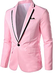 cheap -Men's Blazer Notch Lapel Polyester Black / White / Blushing Pink