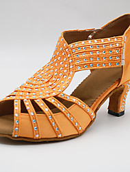 cheap -Women's Dance Shoes Synthetics Latin Shoes Crystals / Crystal / Rhinestone Heel Cuban Heel Customizable Orange / Performance / Leather / Practice