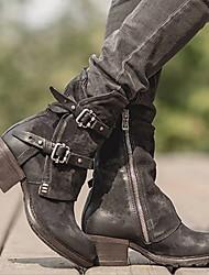Недорогие -Жен. Ботинки На низком каблуке Круглый носок Полиуретан Ботинки Зима Черный / Темно-коричневый
