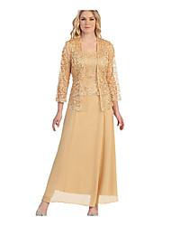 Недорогие -Жен. Большие размеры Из двух частей Платье - Однотонный Вырез лодочкой Макси
