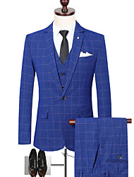 cheap -Black / Ocean Blue / Blue Checkered Slim Fit Polyester Suit - Notch Single Breasted One-button