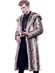 abordables -Homme Quotidien Automne hiver Longue Manteau de fausse fourrure, Couleur Pleine Capuche Manches Longues Fausse Fourrure Marron