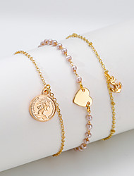 cheap -3pcs Women's Vintage Bracelet Earrings / Bracelet Pendant Bracelet Layered Heart Anchor Simple Classic Vintage Fashion Elegant Imitation Pearl Bracelet Jewelry Gold For Daily School Holiday Festival