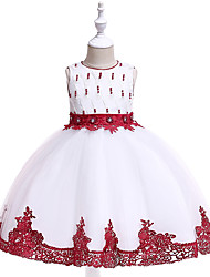 cheap -Kids Toddler Girls' Active Cute Floral Color Block Jacquard Lace Beaded Bow Sleeveless Knee-length Dress Wine