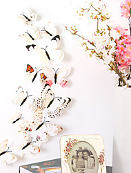 Недорогие -животные двухслойные наклейки на стену 3d наклейки на стену декоративные наклейки на стену выключатели света наклейки на холодильник свадебные наклейки пвх домой - белый
